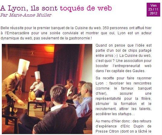 revue de presse - la cuisine du web - Formation Cuisine Lyon